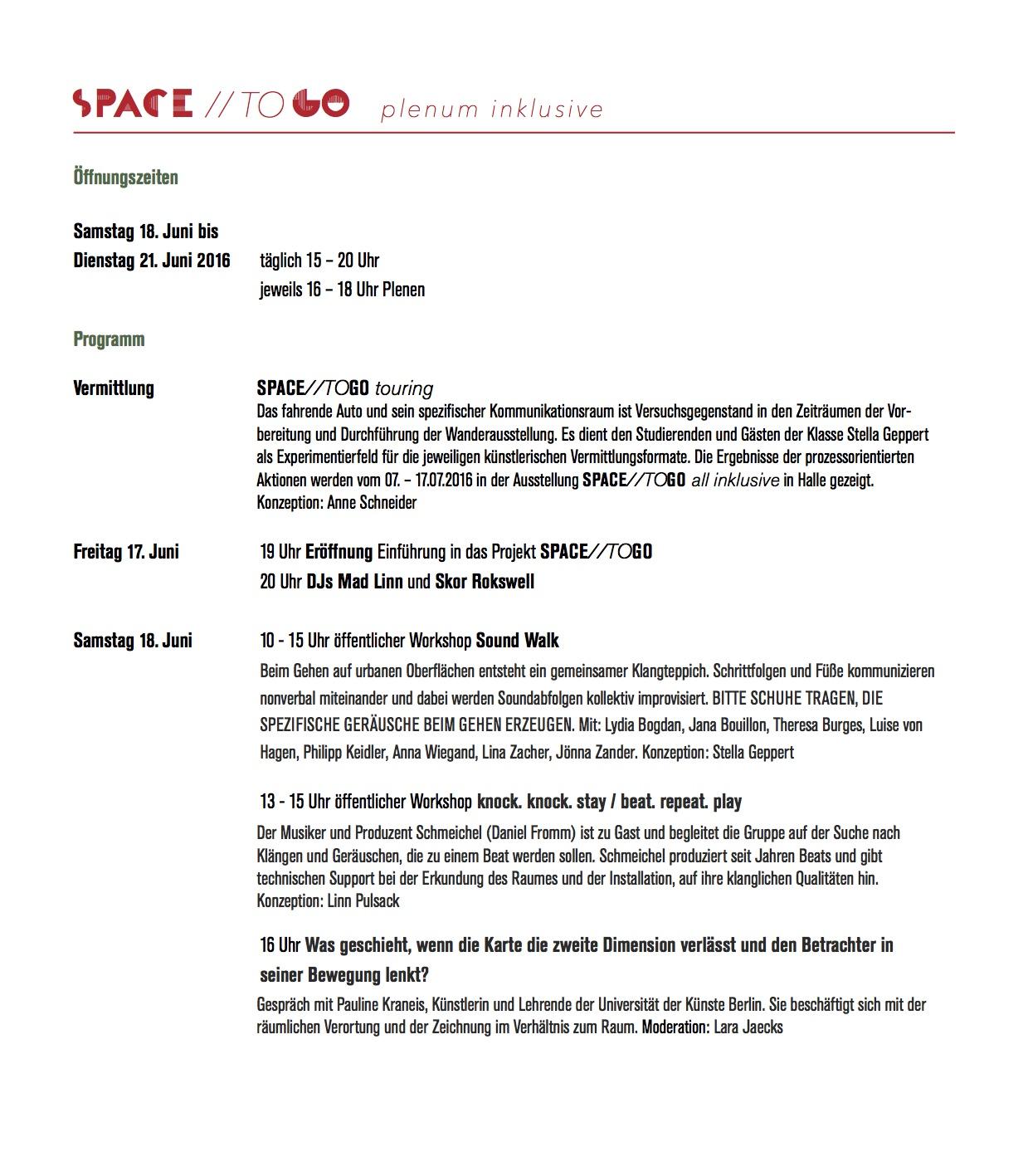 SPACE:TOGO_Programm Seite 1